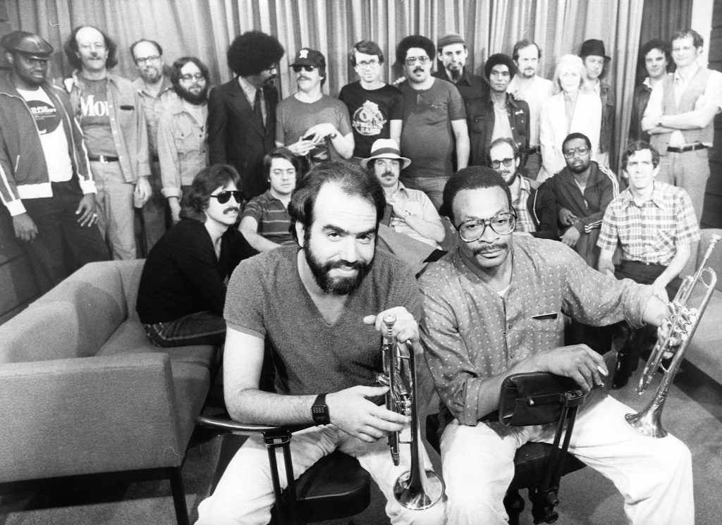 The 1981 Summer Jazz Clinics Faculty with Randy Brecker and Woody Shaw at front